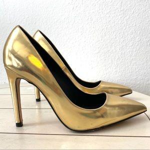 Zara Gold Pump Heels Size 6